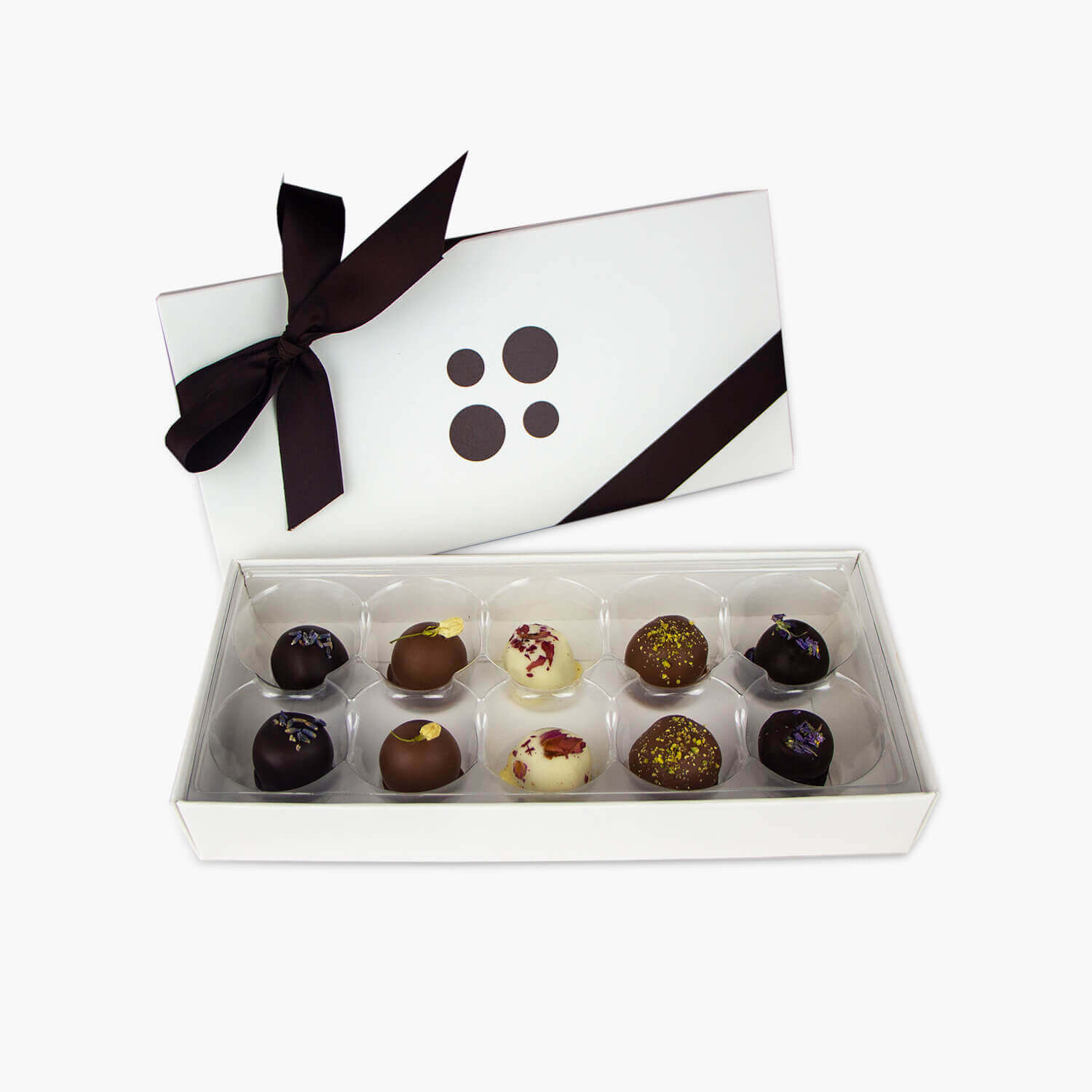 box of 10 floral truffles