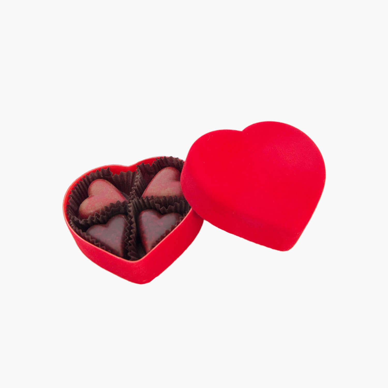 red velvet heart-shaped box