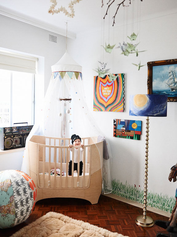 Cool baby's room with boom-box
