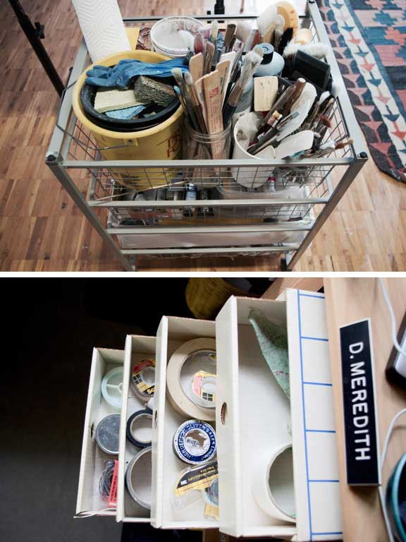 Organized art supplies in artist's studio