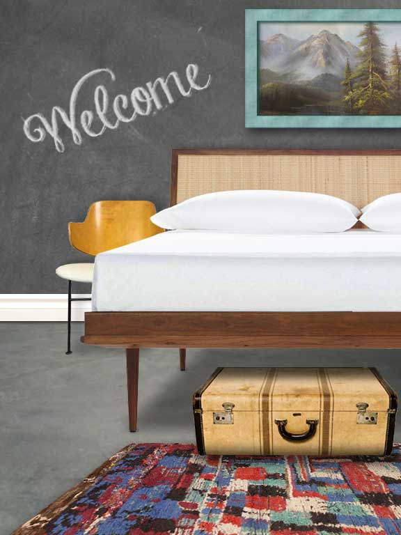 Guest Bedroom with Welcome sign