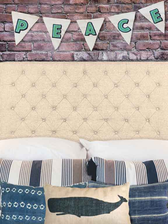Tufted Headboard with Peace Bunting