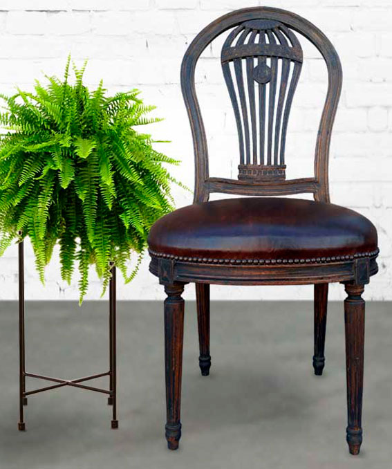 Beau chair beside a fern on stand