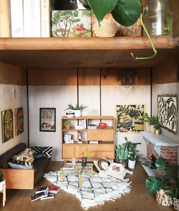 miniature installation suite in bookcase