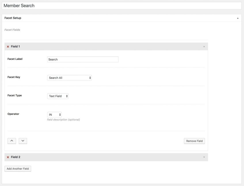 UM Faceted Search - Fields Setup