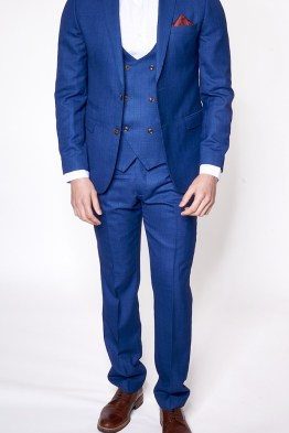 George Blue Check Print Three Piece Suit Suit Distributors Cork