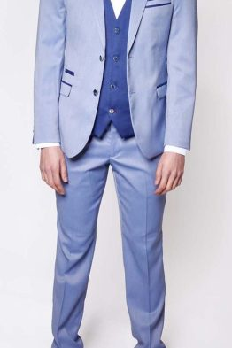 Howard Light Blue Contrast Notch Lapel Three Piece Suit Suit Distributors Cork