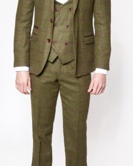 Mitchell Olive Green Three Piece Tweed Suit Suit Distributors Cork
