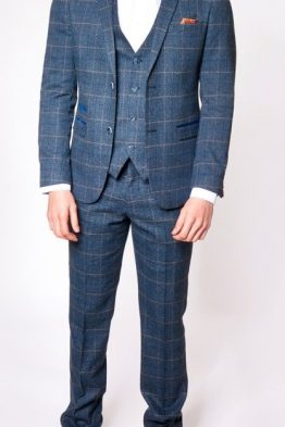 Scott Blue Check Three Piece Suit Suit Distributors Cork