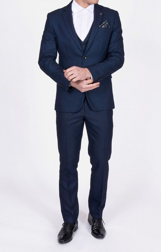 Callum Navy Three Piece Suit With Black Detailing | Suits Distributors Cork