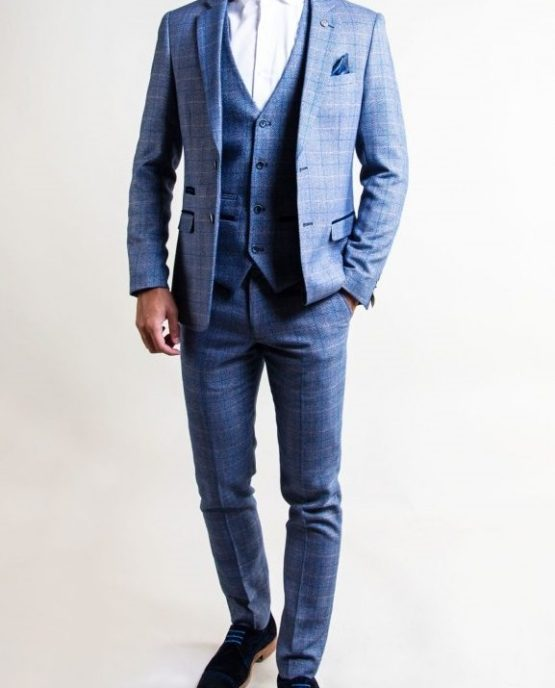 Harry Blue Check Print Tweed Three Piece Suit With Single Breasted Waistcoat | Suits Distributors Cork