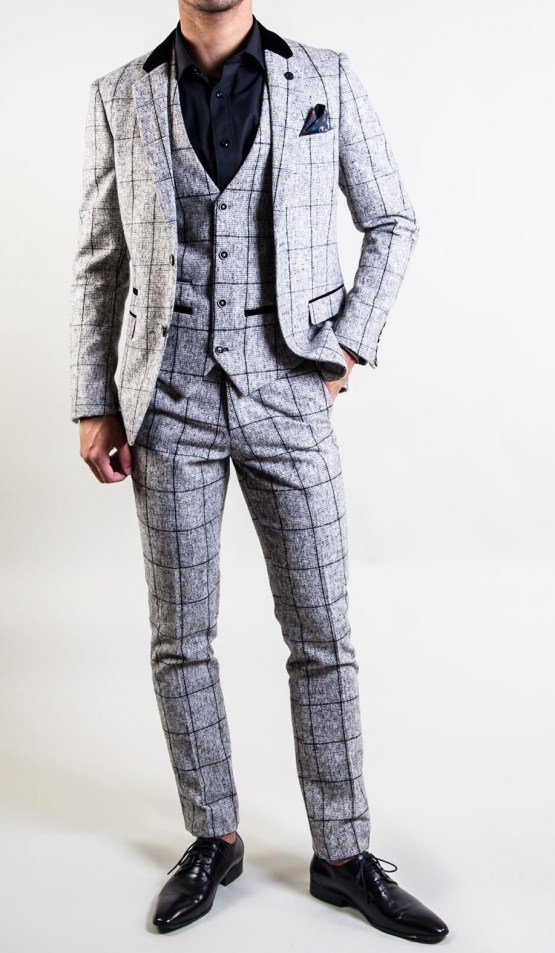 Kristian Grey Grid Check Print Tweed Three Piece Suit | Suits Distributors Cork