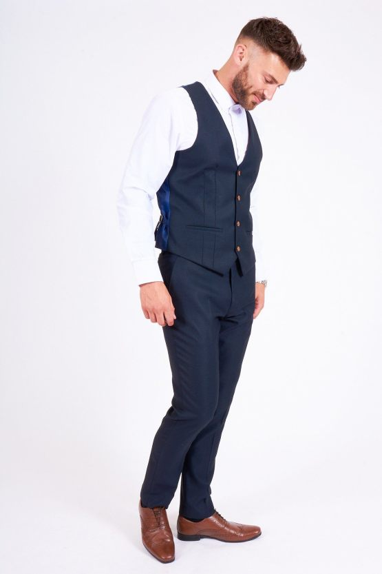 Suits Distributors - Men's Stylish Suits Cork - Max Navy Diamond Print Three Piece Suit