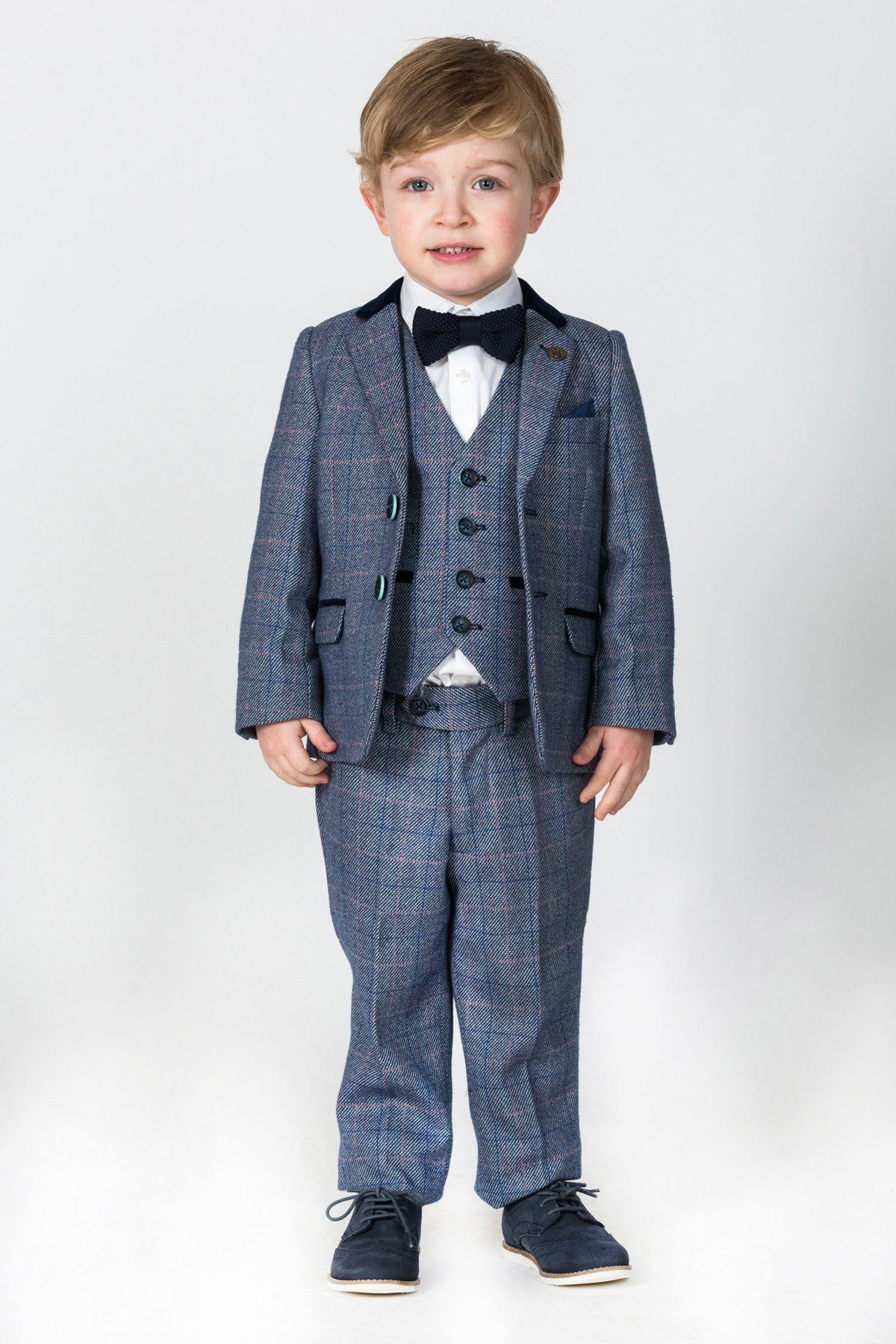 f17a21552427 Hilton Children's Blue Check Print Tweed Three Piece Suit With Single  Breasted Waistcoat