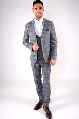 Enzo Blue Stone Tweed Check Three Piece Suit | Men's Suits | Suits Distributors