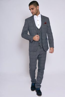 Enzo Grey Blue Tweed Check Three Piece Suit | Men's Suits | Suits Distributors