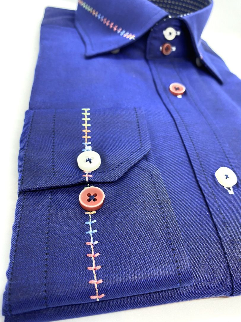 Casual Royal Blue Shirt With Trim 2