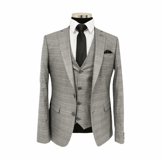 Suits Distributors Cork - Wedding Business Corporate Graduation Suits Cork - Jack Doyle Light Grey Subtle Check Three Piece Suit 1