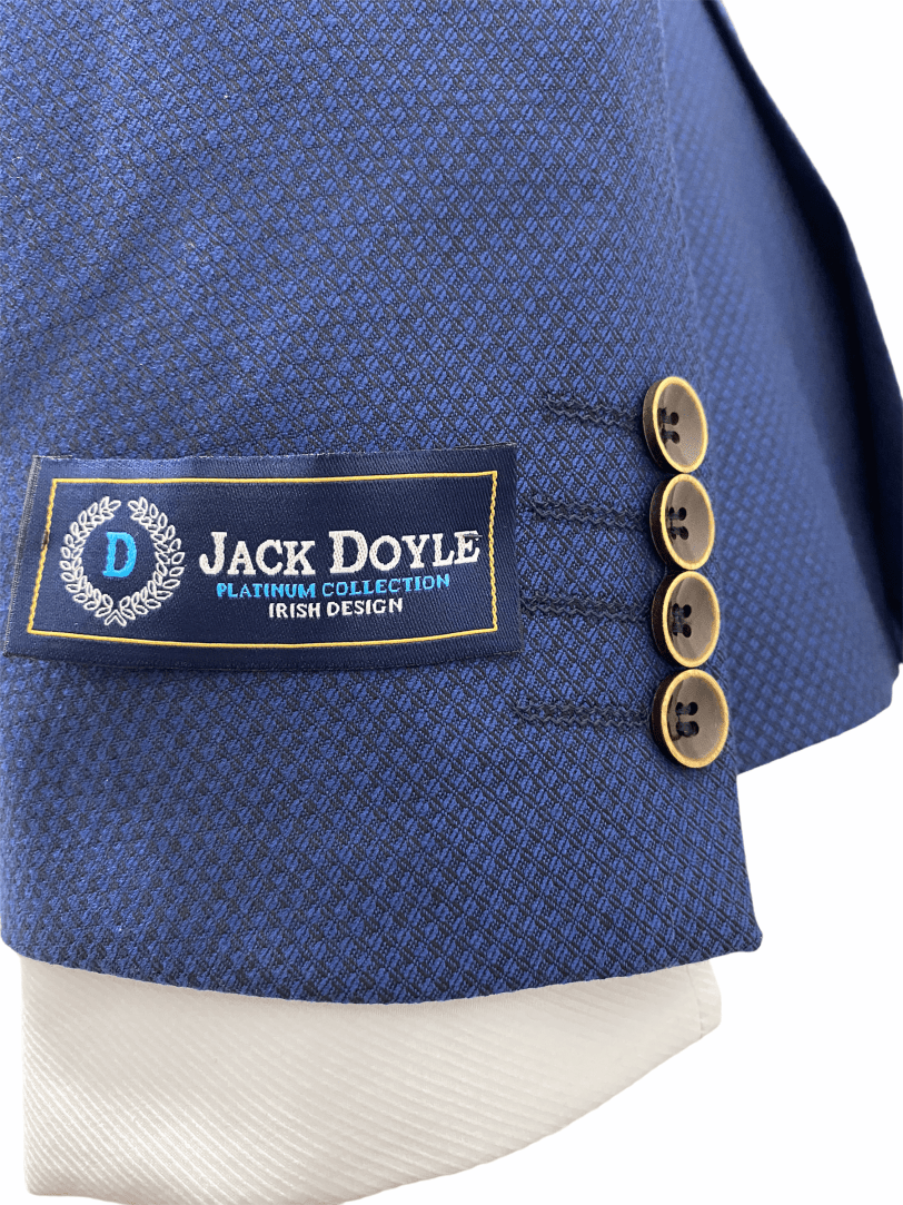 Jack Doyle Navy Three Piece Print Suit With Brown Buttons