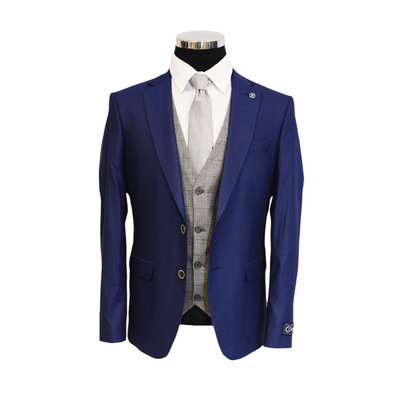 Jack Doyle Navy Three Piece Print Suit With Brown Buttons With Contrasting Light Grey Check Waistcoat