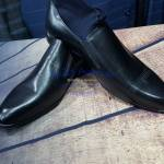 Black Leather Cap Toe Slip on