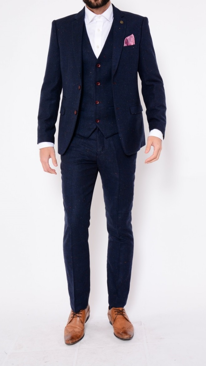 Dexter Navy Speckled Herringbone Tweed Three Piece Suit Suits