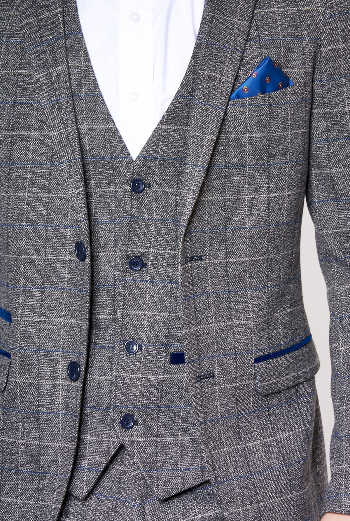 Scott Grey Tweed Check Print Three Piece Suit Suits Delivered