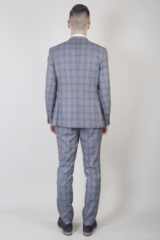 Logan Grey Check Print Three Piece Suit
