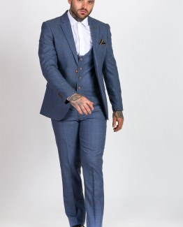 Matthew Sky Blue Tweed Check Three Piece Suit | Men's stylish and affordable suits online | Suits Delivered Online Ireland