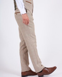 Owen Cream Tweed Check Suit Single Breasted Waistcoat   Men's stylish and affordable suits online   Suits Delivered Online Ireland