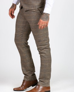 Ted Tan Tweed Herringbone Check Three Piece Suit with Double Breasted Waistcoat | Men's stylish and affordable suits online | Suits Delivered Online Ireland