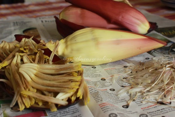 Cleaning Banana Flower/Banana Blossoms with video help