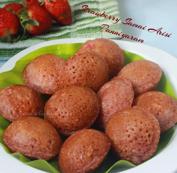 Samai Arisi Strawberry Panniyaram/Little Millet Strawberry Panniyaram