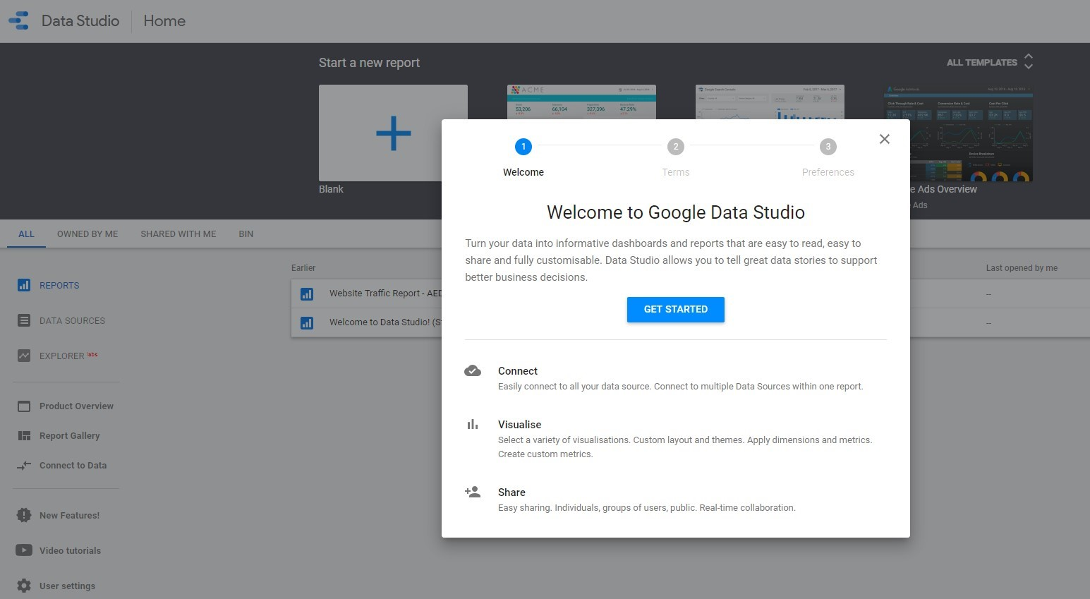report in google data studio