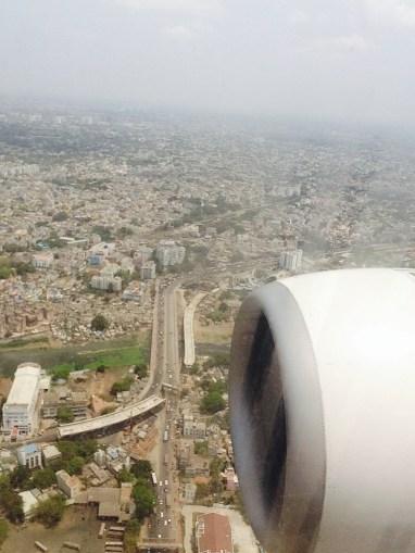Plane landing over Chennai