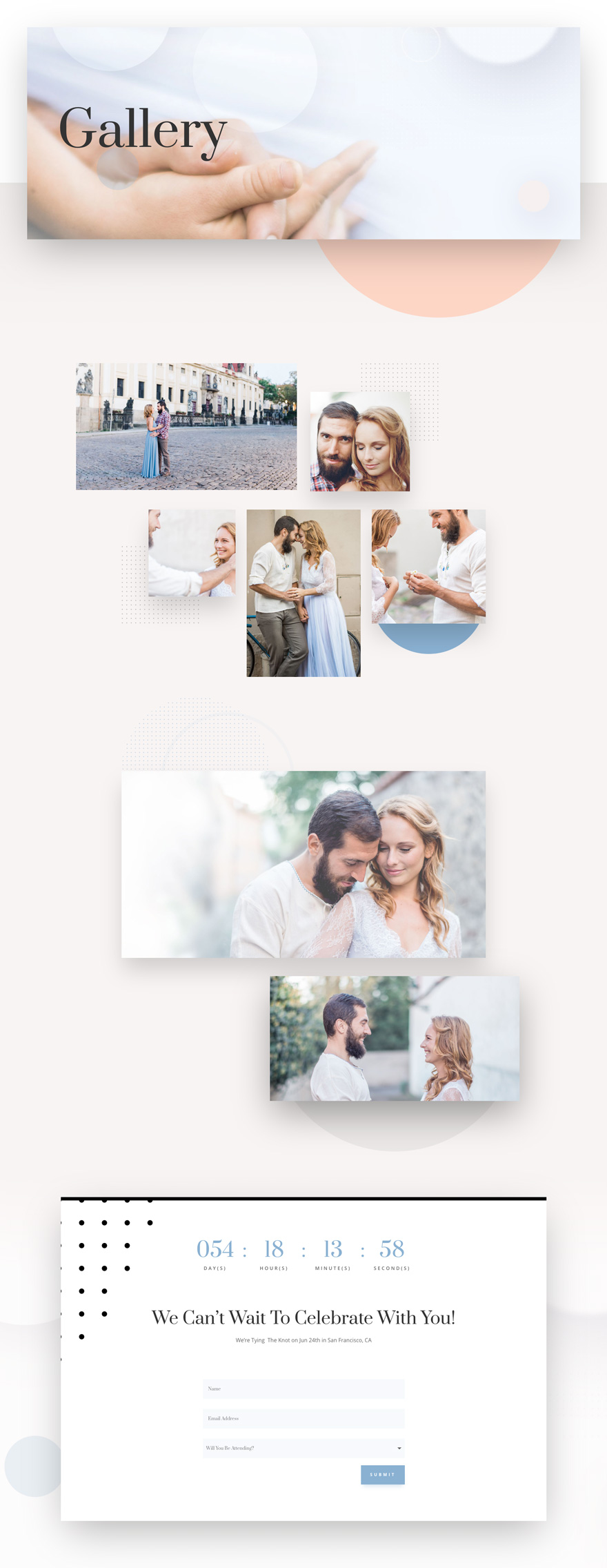 wedding engagement gallery page
