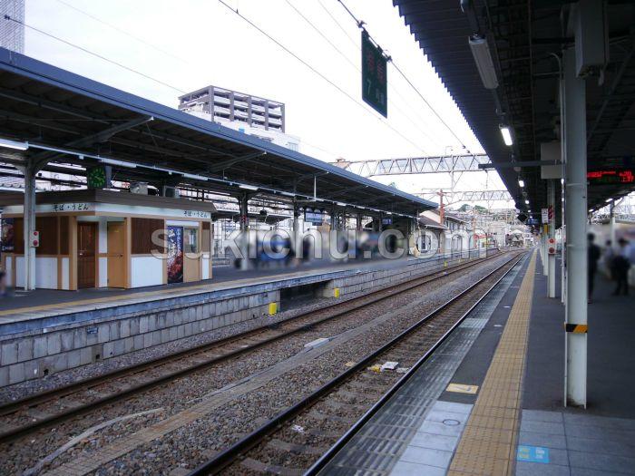 JR水戸駅構内蕎麦店ホーム周辺
