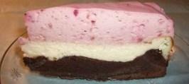 Cheesecake-brownie med hindbær