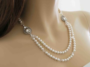 pearl and crystal necklace bridal jewelry