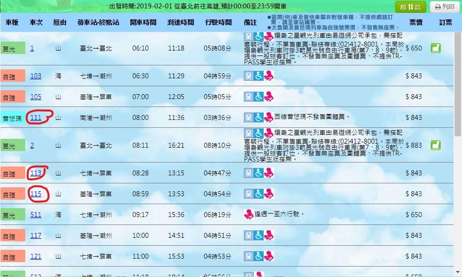 台灣鐵路訂票介面2