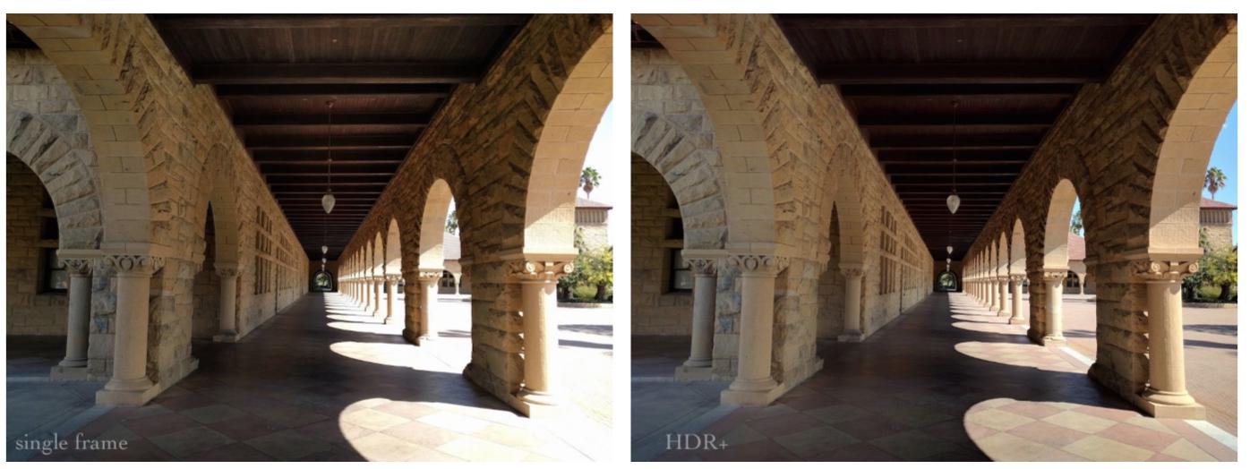 左 圖 為 沒 有 開 啟 HDR+ 模 式 的 影 像 , 右 圖 為 開 啟 HDR+ 的 影 像
