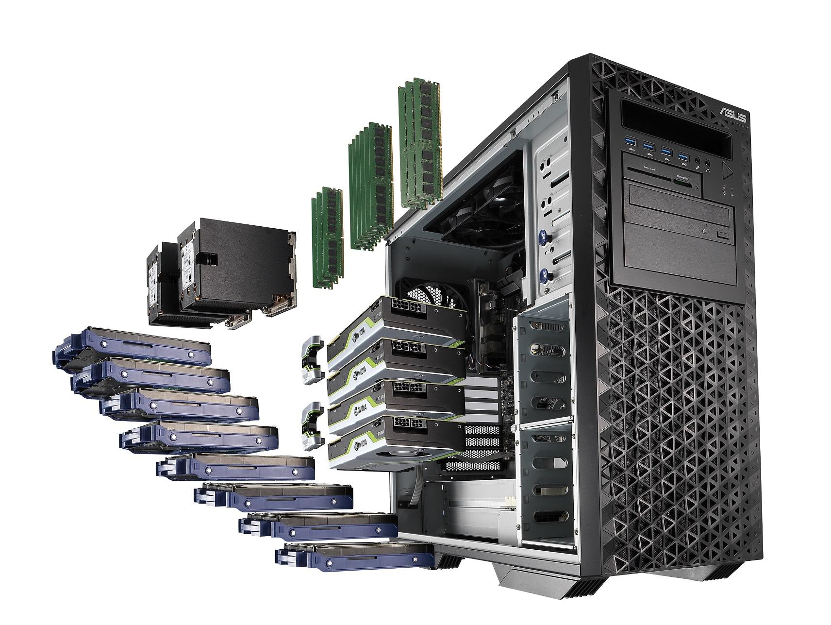 ASUS WS980T工作站 最高搭載多達56核心的雙Intel Xeon 處理器(2P)、四組NVIDIA 或AMD 顯示卡,以及1536GB錯誤修正碼(ECC)記憶體。