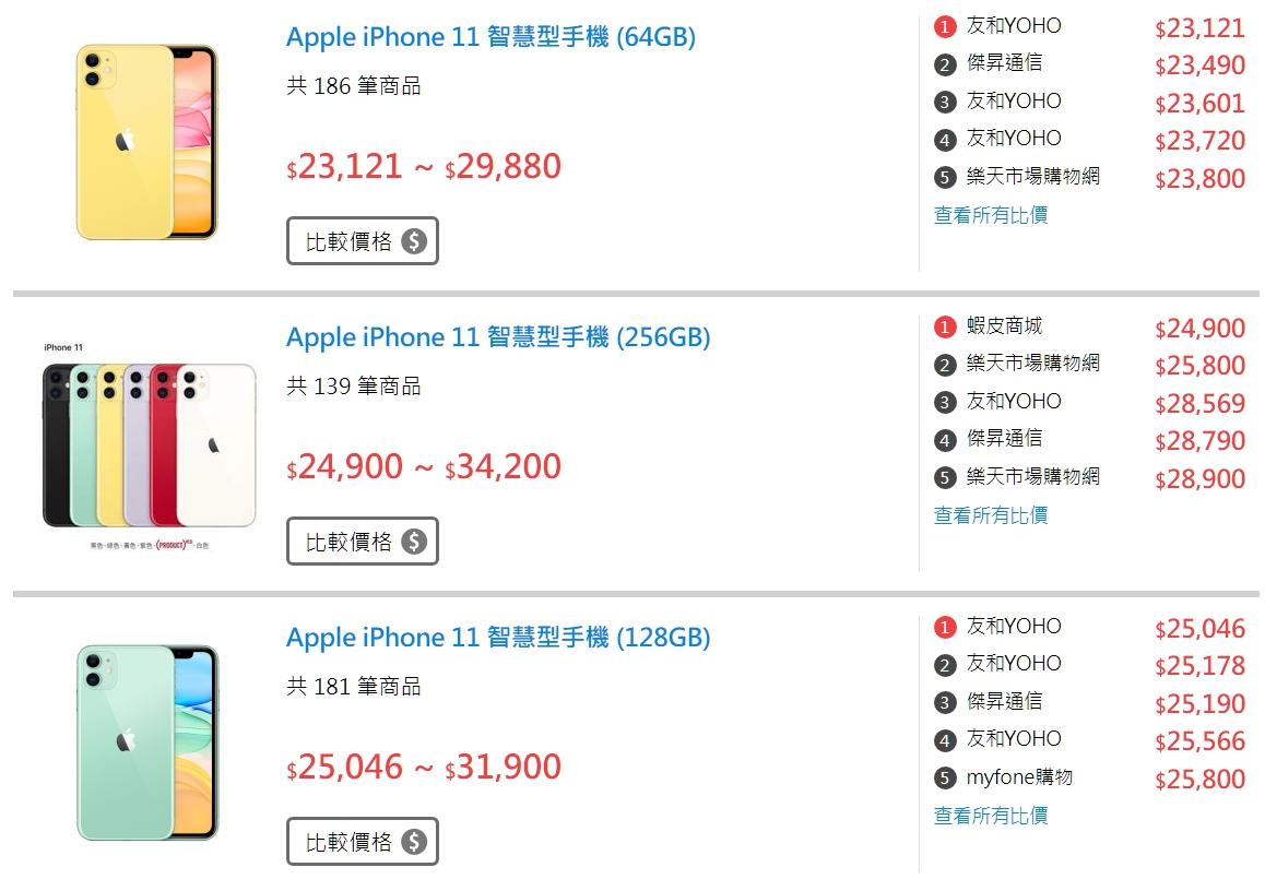 飛比價格網 iPhone 11 售價
