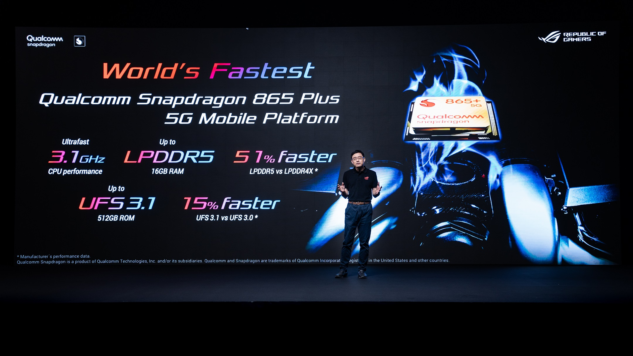 ROG Phone 3電競手機,採用最新Qualcomm® Snapdragon™ 865 Plus 5G 行動運算平台,將為玩家帶來極致非凡的手遊體驗。