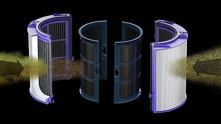 Dyson Cryptomic™組合濾網,以HEPA與活性碳過濾。有效捕捉有害氣體與99.95%的微粒汙染物