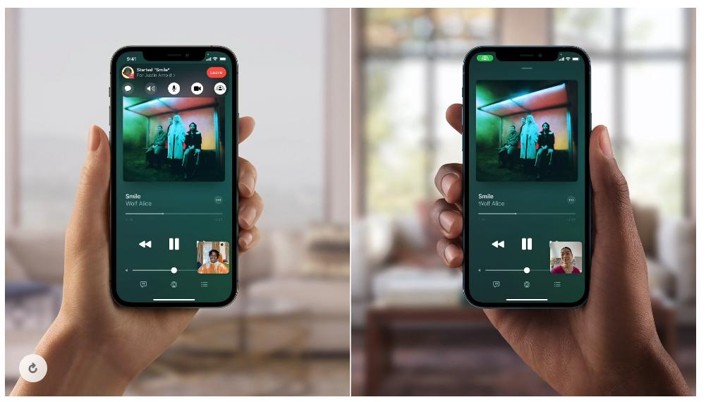 利用 SharePlay,使用者可在 FaceTime 通話中輕鬆使用 Apple Music 和通話者一起聽音樂。