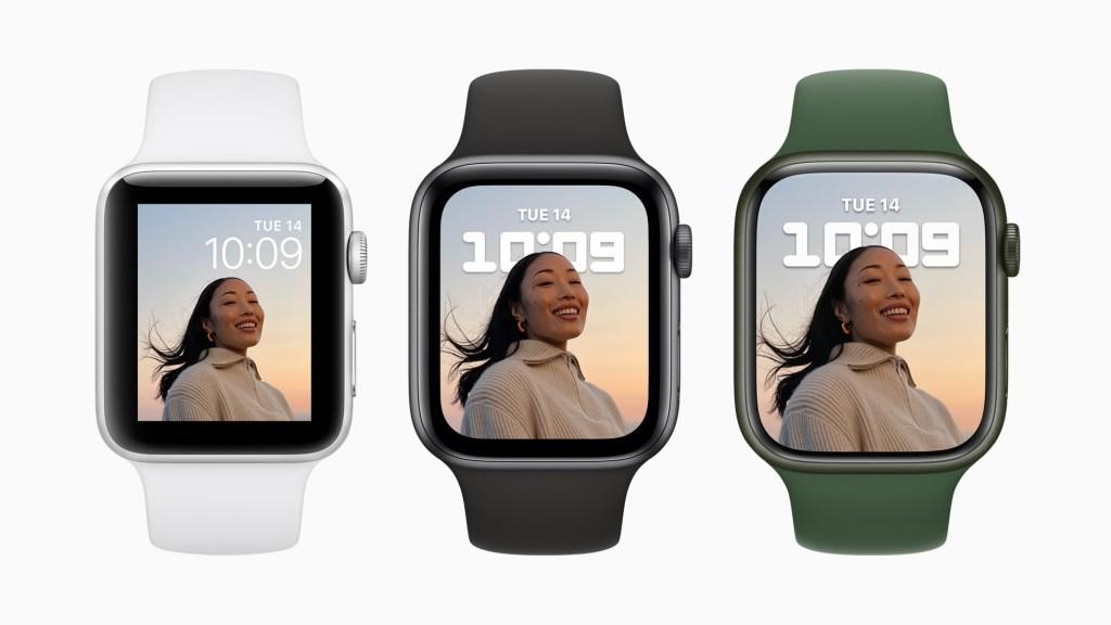 出色的 Apple Watch Series 7 顯示器尺寸比 Apple Watch Series 6 擴大將近 20%,比 Apple Watch Series 3 擴大超過 50%,並透過最佳化的使用者介面提升可讀性與使用體驗。