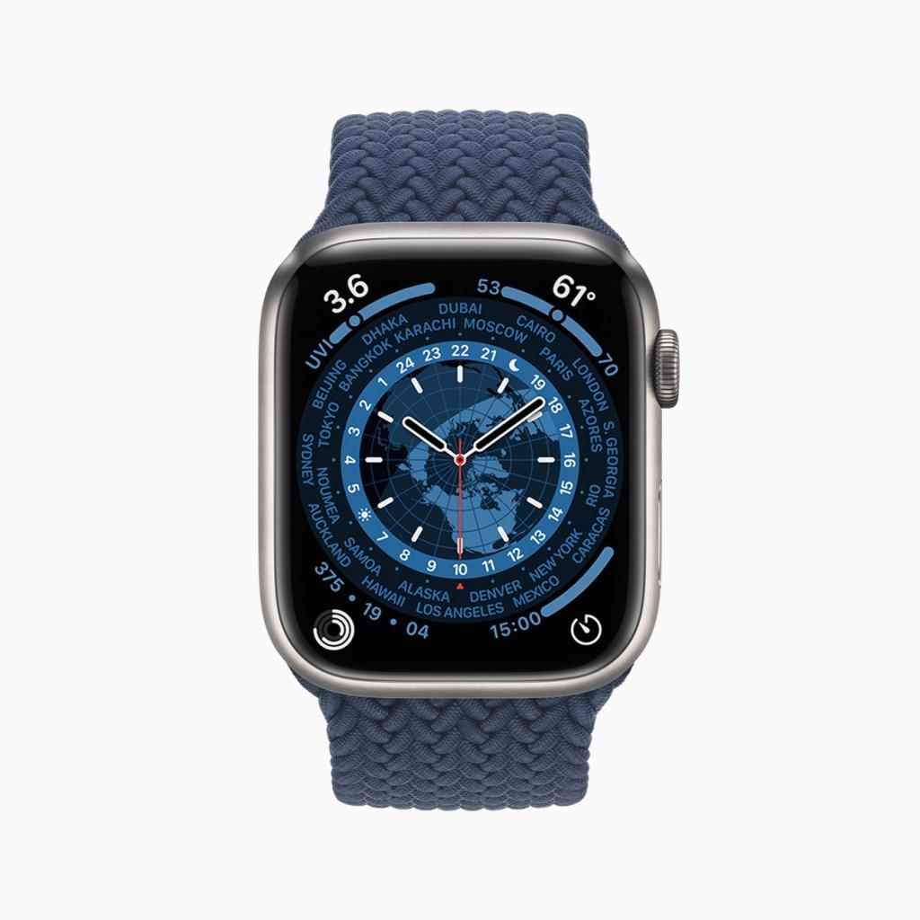 銀色、石墨色與金色不鏽鋼的 Apple Watch Series 7 系列。