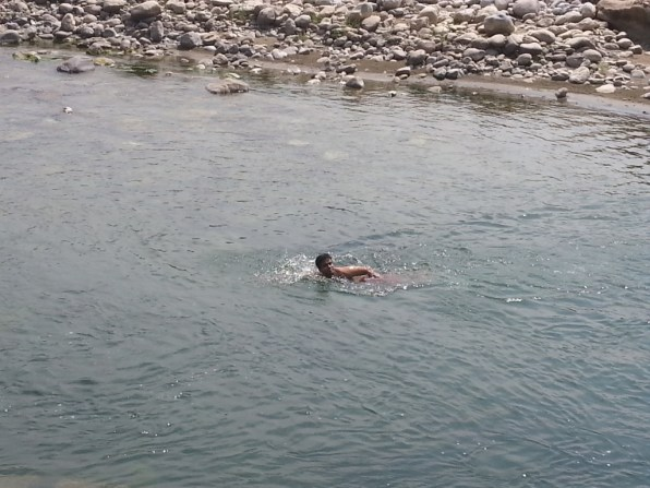 Enjoying a swim!