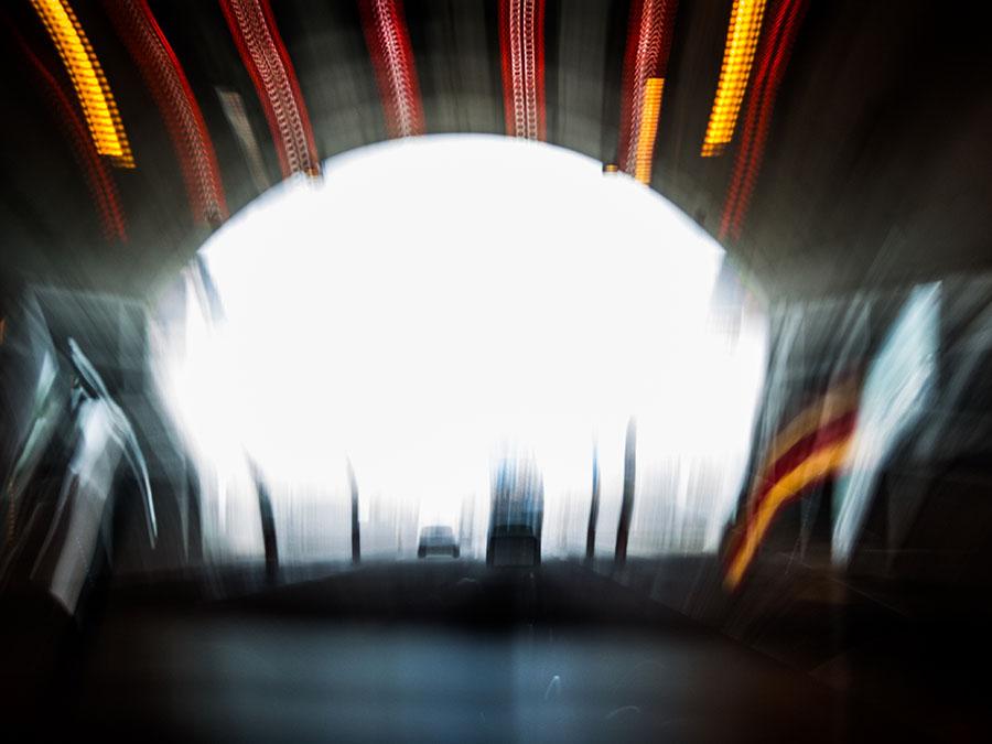 Foto, Langzeitbelichtung, Tunnel, Autofahrt